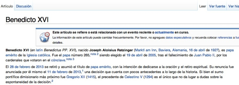 Entrada Wikipedia Benedicto XVI